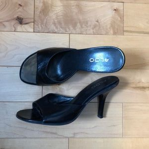 Aldo | Black Leather Mule Heel Sandals